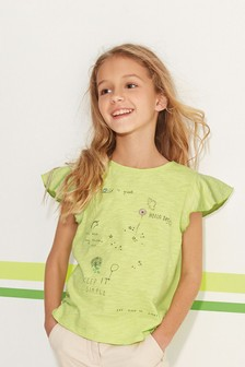Short Sleeve Frill T-Shirt (3-16yrs)