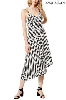 Karen Millen White Engineered Stripe Print Dress