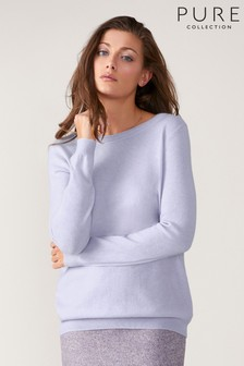 Pure Collection Purple Cashmere Boyfriend Sweater