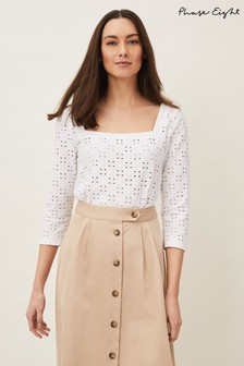 Phase Eight White Lucy Square Neck Broderie Top