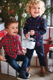 Santa Embroidered Check Shirt (3mths-6yrs)