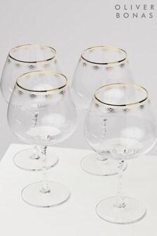 Oliver Bonas Set of 4 Dora Twist Stem Wine Glasses