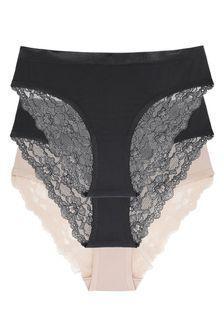 DORINA Black Crystal Lace Briefs 3 Pack