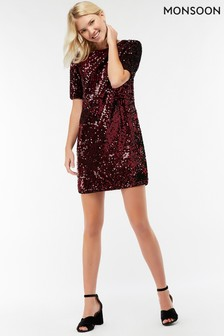 Robe droite à sequins Monsoon Stacey rouge