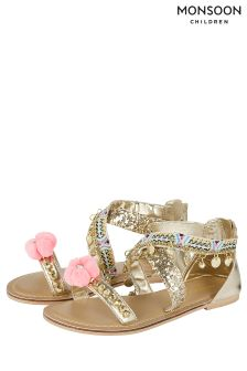 Monsoon Pink Cross Strap Braid Pom Pom Sandal