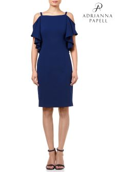 Adrianna Papell Blue Knit Crepe Flutter Cold Shoulder Sheath