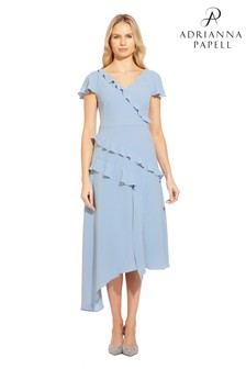 Adrianna Papell Blue Gauzy Crepe Ruffled Fit And Flare Dress