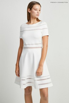 French Connection White Scille Lula Jersey Dress