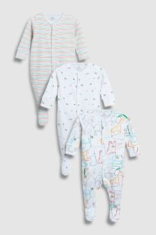 Bright Animal Print Sleepsuits Three Pack (0mths-2yrs)