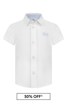 Baby Boys White Short Sleeve Cotton Shirt