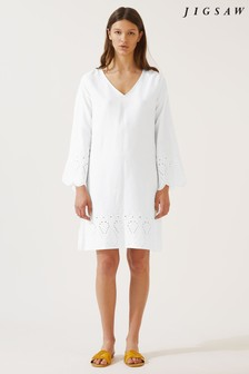 Jigsaw White Alice Broderie Anglaise Dress