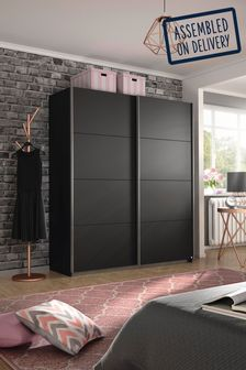 Cameron Dark Grey 1.36m Sliding Wardrobe by Rauch
