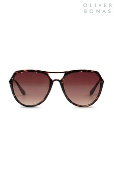 Oliver Bonas Brown Angular Aviator Sunglasses