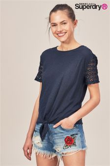 Superdry Navy Lace Sleeve Tie Tee
