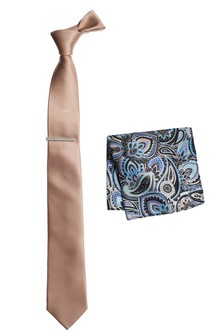 Tie And Paisley Pattern Pocket Square Set