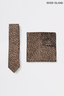 River Island Leopard Tie And Pocket Square Set