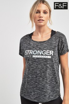 F&F Grey Slogan 2 In1 T-Shirt