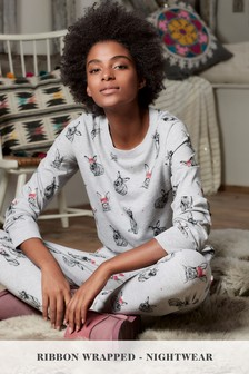 Christmas Bunny Pyjamas With Ribbon Wrapping