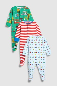 Stripe/Transport Sleepsuits Three Pack (0mths-2yrs)