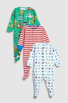 Set de trei pijamale întregi cu dungi/transport (0 luni - 2 ani)