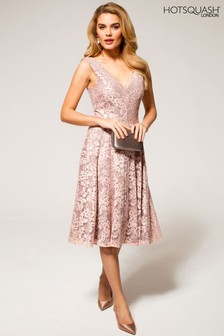 HotSquash Light Pink V-Neck Floral Lace Dress
