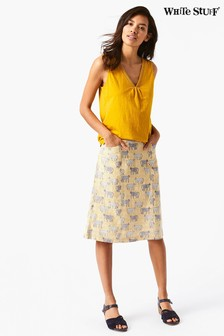 White Stuff Blue Safari Linen Skirt
