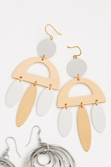 Mixed Metal Statement Earrings