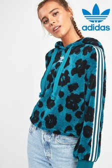 adidas Originals Teal Leopard Sherpa Cropped Hoody