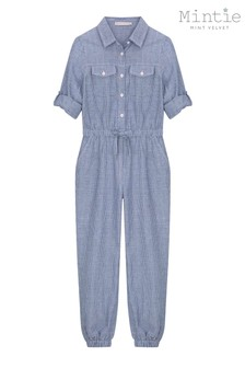 Mintie by Mint Velvet Blue Striped Chambray Jumpsuit