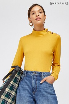 Warehouse Yellow Button Detail Funnel Neck Top