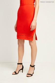 French Connection Red Scille Lula Jersey Pencil Skirt