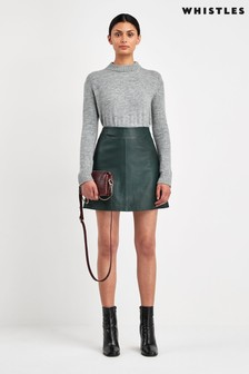 Whistles Green Leather A-Line Skirt