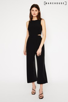 Warehouse Black Open Back Culotte Jumpsuit
