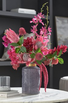 Artificial Tropical Floral In Glass Vase