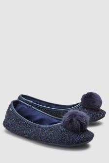 Tweed Pom Ballerina Slippers