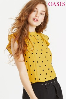 Oasis Yellow Spot Frill Shell Top