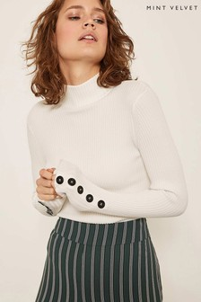 Mint Velvet White Fine Ribbed Grown On Neck Knit