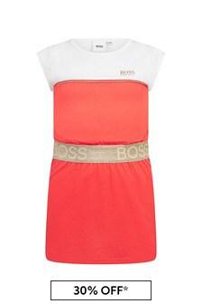 Boss Kidswear Girls Pink Cotton Dress