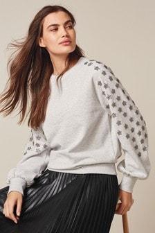 Embellished Star Sleeve Sweatshirt