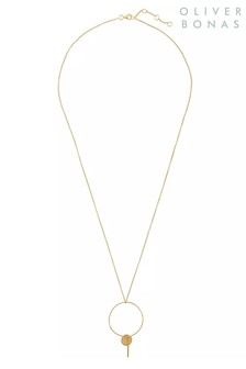 Oliver Bonas Camelina & Drop Gold Plated Brass Necklace