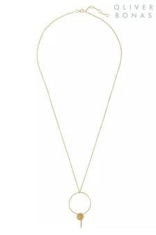 Oliver Bonas Camelina & Drop Gold Plated Brass Necklace