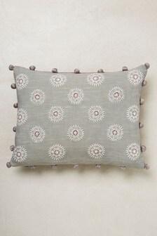 Embroidered Pom Edge Cushion