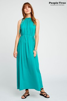 People Tree Green Organic Cotton Stacie Maxi Dress
