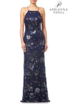 Adrianna Papell Blue Halter Sequin Gown