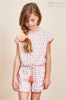 Outside The Lines Pink Printed Pom Pom Playsuit