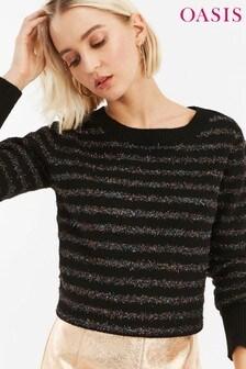 Oasis Black Serina Tinsel Stripe Shirt