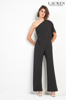 Lauren By Ralph Lauren Black April Frill Shoulder Jumpsuit
