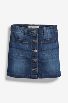 Denim Button Through Skirt (3-16yrs)