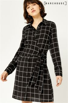 Warehouse Black/White Mono Check Tie Side Dress