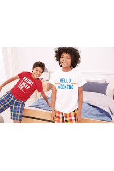 Slogan Check Woven Pyjamas Two Pack (3-16yrs)